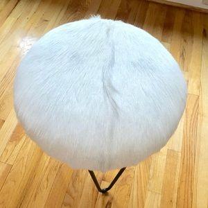 Luxury Hide Leather Fur Stool!